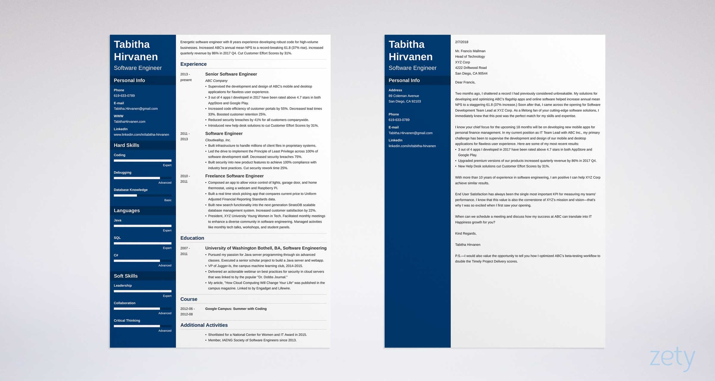 cover letter and matching resume